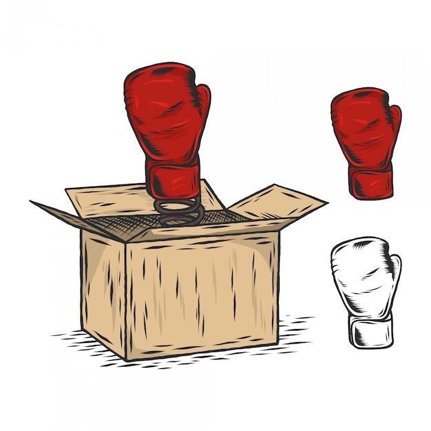 Caja de boxeo con guante grabado ilustración vintage Vector Premium