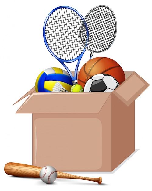 Caja de cartón llena de equipamiento deportivo aislado vector gratuito
