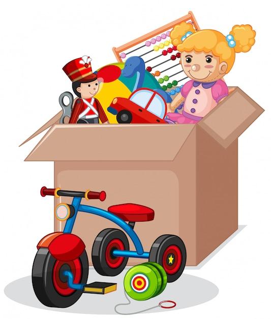 Caja de cartón llena de juguetes aislados vector gratuito