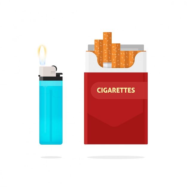 Caja de cigarrillos y encendedor con ilustración de vector de fuego aislado Vector Premium