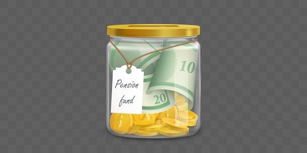 Caja de dinero de vidrio con dólares de fondos de pensiones vector gratuito