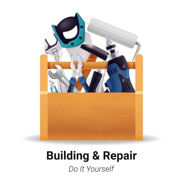Caja de herramientas realista carpintero carpintero vector gratuito
