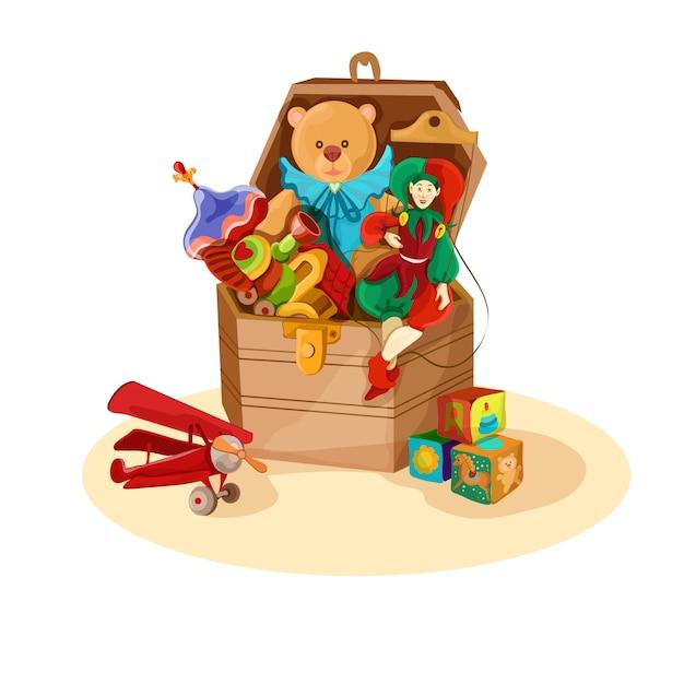 Caja con juguetes retro. vector gratuito