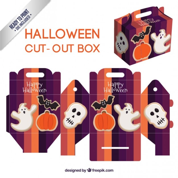 Caja linda recortable de halloween Vector Gratis