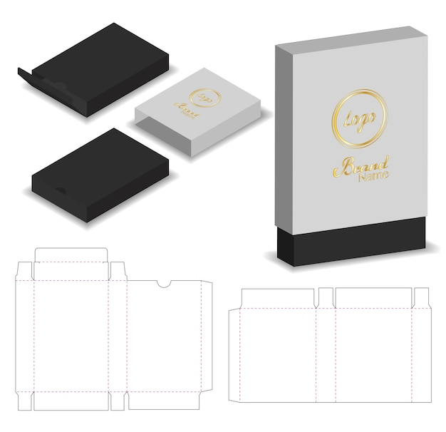 Caja de la manga del paquete troquelada con maqueta 3d Vector Premium
