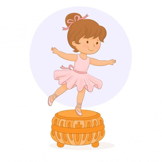 Caja de música. bailarina pequeña niña Vector Premium