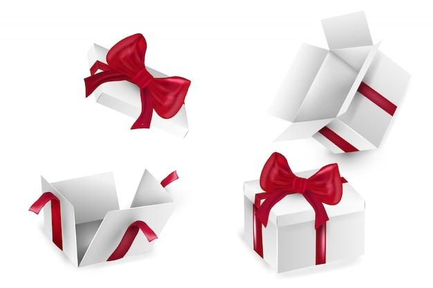 Caja de papel cuadrado blanco con cintas rojas. embalaje vacío caja de cartón realista, contenedor, embalaje. la plantilla de plantilla está lista para su. feliz cumpleaños navidad año nuevo Vector Premium