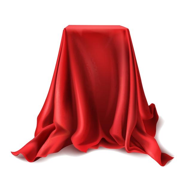 Caja realista cubierta con paño de seda rojo aislado sobre fondo blanco. vector gratuito
