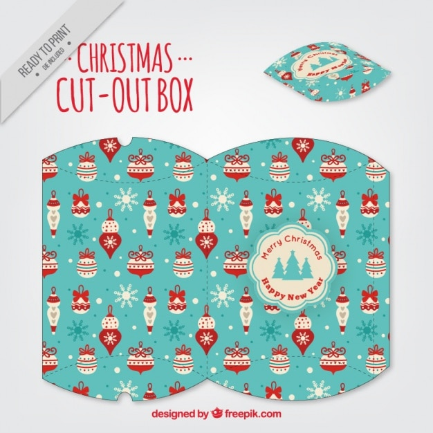 Caja recortable de navidad con motivos navide os - Cajas con motivos navidenos ...