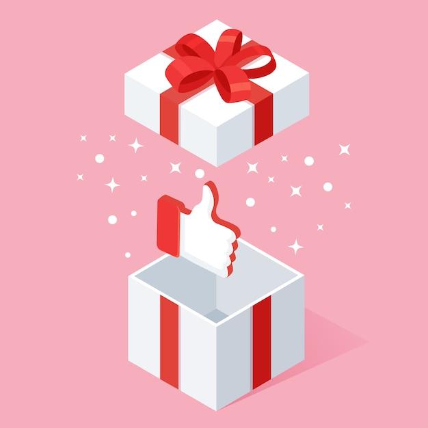 Caja de regalo abierta con pulgares arriba aislado sobre fondo blanco. Vector Premium