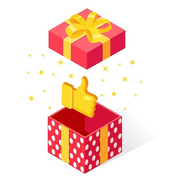 Caja de regalo abierta con pulgares hacia arriba sobre fondo blanco. paquete isométrico, sorpresa con confeti. testimonios, comentarios, revisión de clientes. Vector Premium