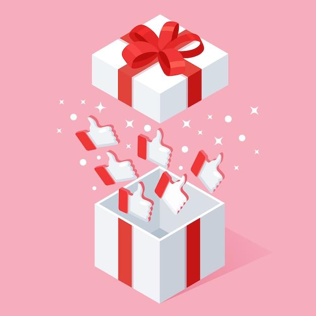 Caja de regalo abierta con pulgares hacia arriba sobre fondo rosa. paquete isométrico, sorpresa con confeti. testimonios, comentarios, revisión de clientes. Vector Premium