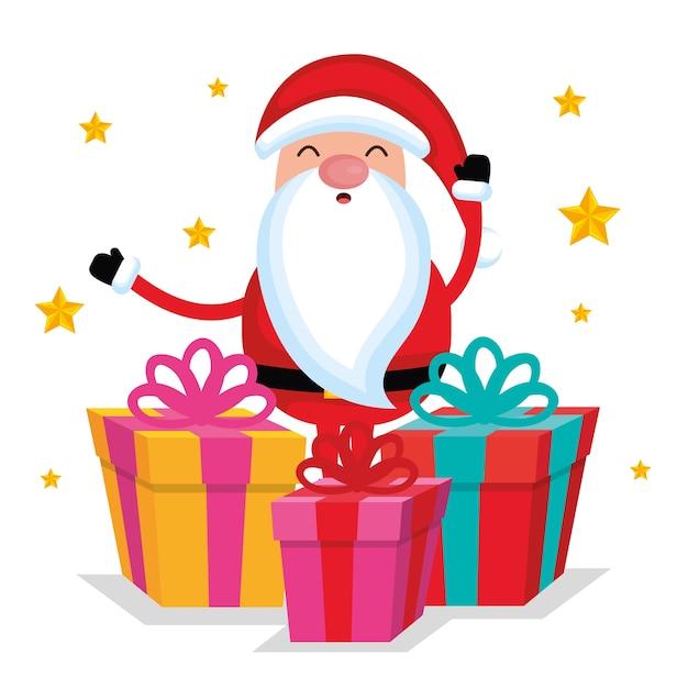 Caja De Regalo De Dibujos Animados De Santa Claus De Navidad Feliz