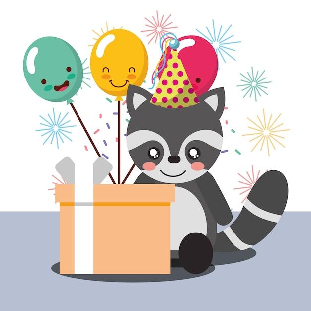 Caja de regalo globos kawaii lindo sombrero de fiesta de mapache ... 17218870fe6