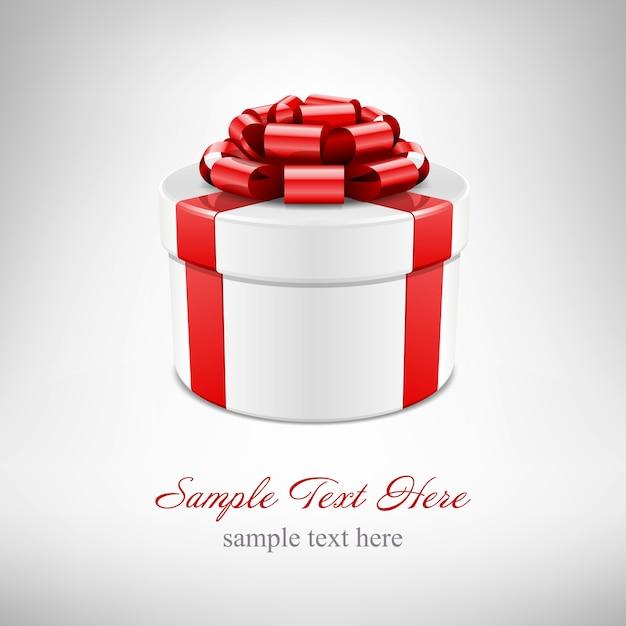 Caja de regalo con lazo rojo y cinta aislado en blanco con ilustración Vector Premium
