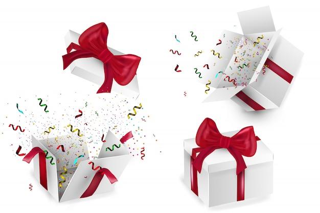 Caja de regalo realista abierta con lazo rojo, globos y confeti multicolor, sobre fondo blanco con sombra. ilustración. Vector Premium