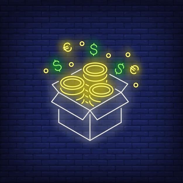 Caja con signo de neón de monedas de oro. vector gratuito