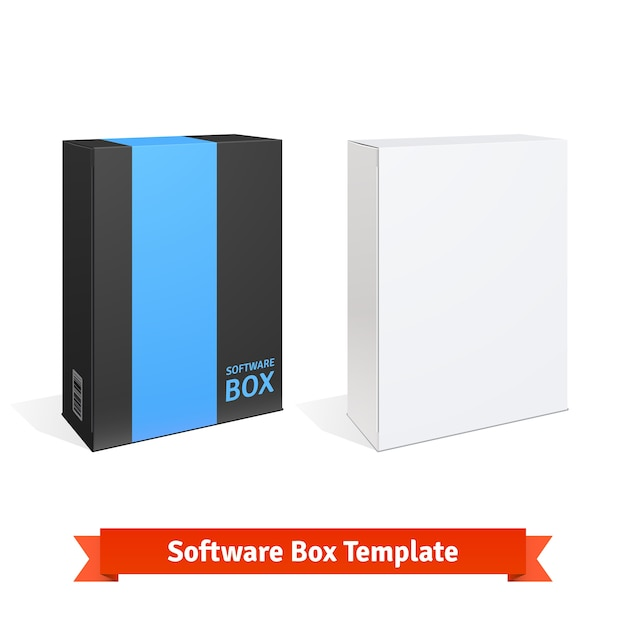 Caja de software de cartón blanco vector gratuito