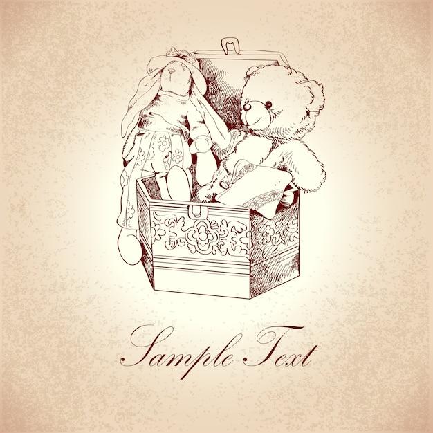 Caja vintage con adornos florales y juguetes retro de peluche y conejo, ilustración vectorial vector gratuito