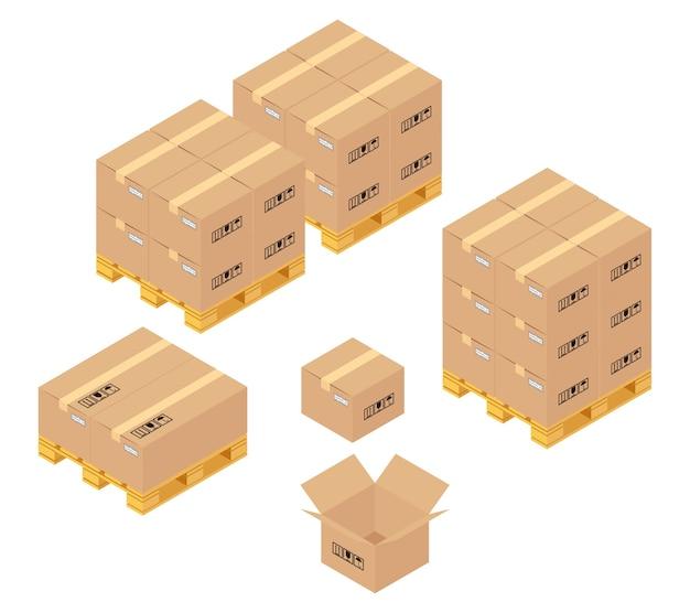 Cajas de cartón en almacén. servicios de almacenaje, entrega y logística. transporte y almacén, contenedor y palet, transporte y producto. vector gratuito