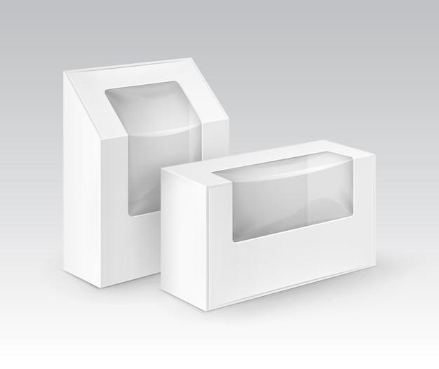 Cajas para llevar del rectángulo en blanco blanco de la cartulina que empaquetan para el bocadillo Vector Premium