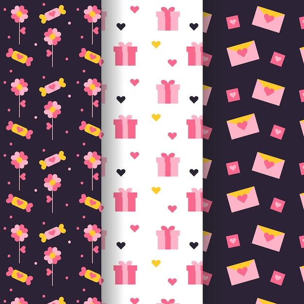 Cajas de regalo y cartas de patrones sin fisuras de san valentín vector gratuito
