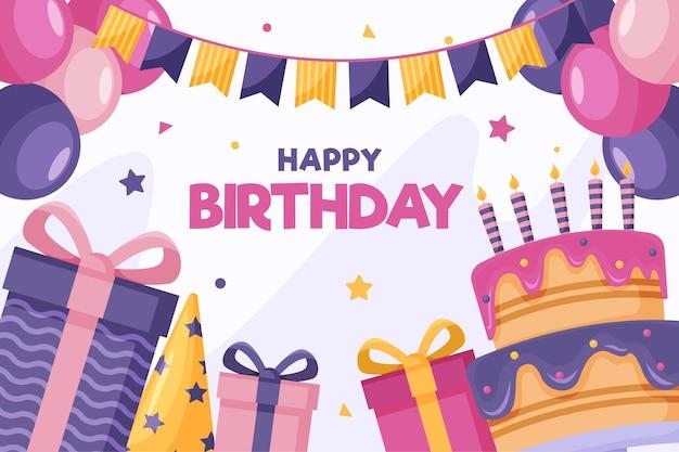 Cajas de regalo y delicioso pastel feliz cumpleaños vector gratuito