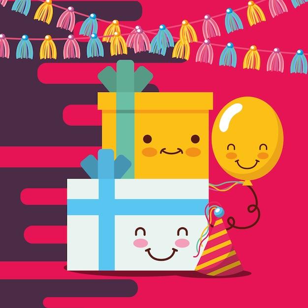 Cajas de regalo kawaii globos y banderines de fiesta sombrero ... 4553d026d31