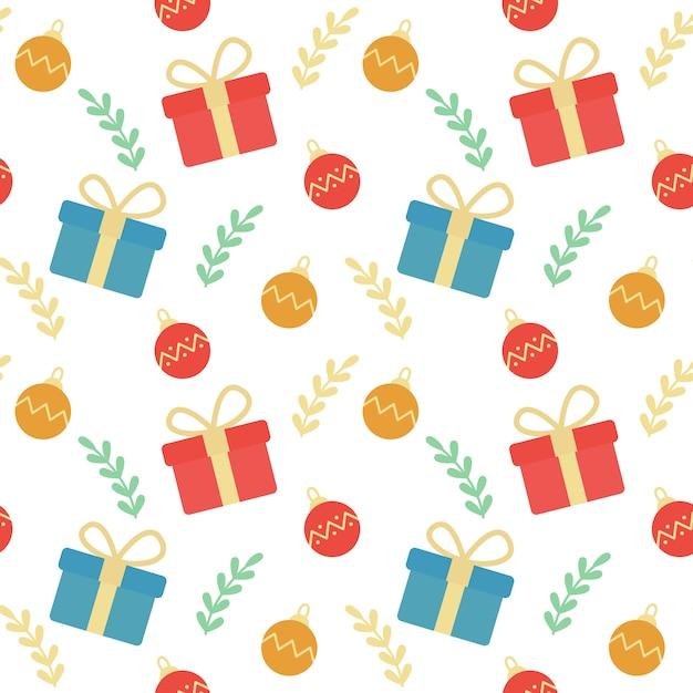 Cajas de regalo de navidad y adornos de fondo sin fisuras patrón ...