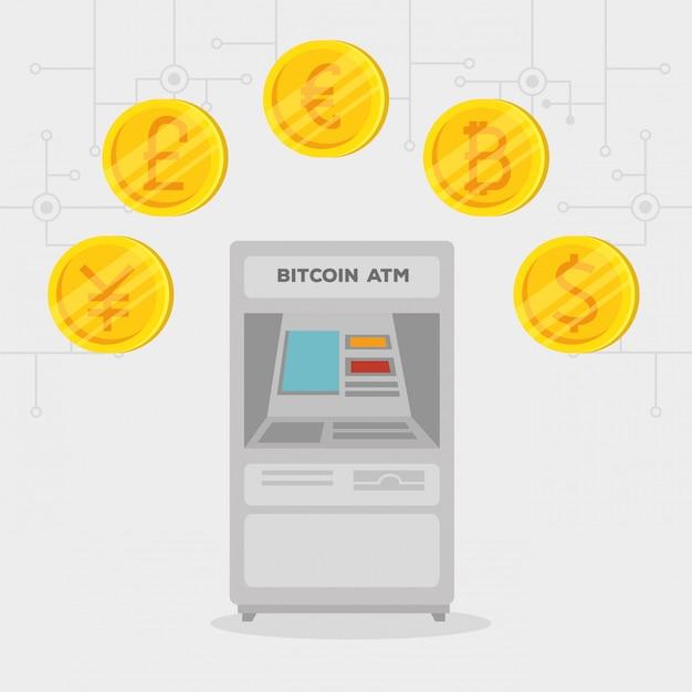 Cajero automático bitcoin moneda internacional electrónica vector gratuito