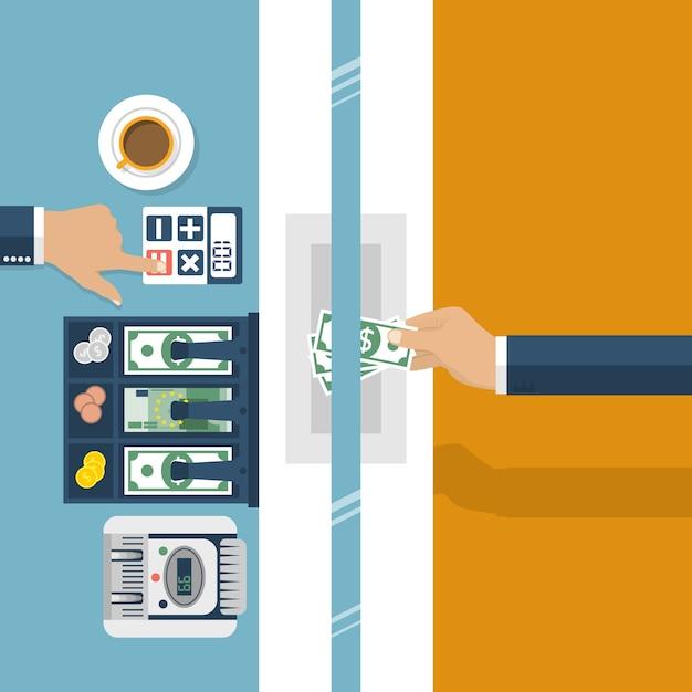 Cajero en banco. banco trabajador, especialista financiero, efectivo, cambio de moneda Vector Premium