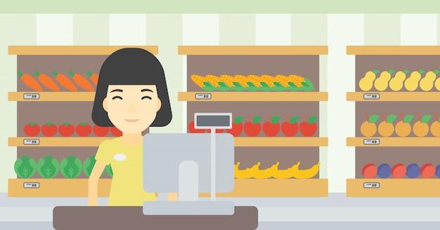 Cajero De Supermercado Para Colorear