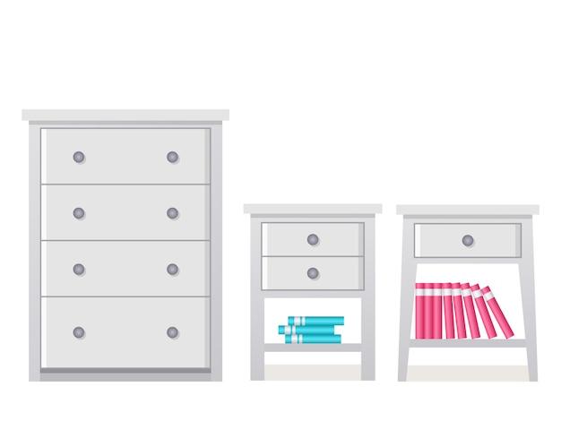 Cajonera, mesita de noche. . icono de muebles en piso. aparador de equipo de casa de dibujos animados, cómoda, buró para dormitorio y sala de estar aislado. Vector Premium