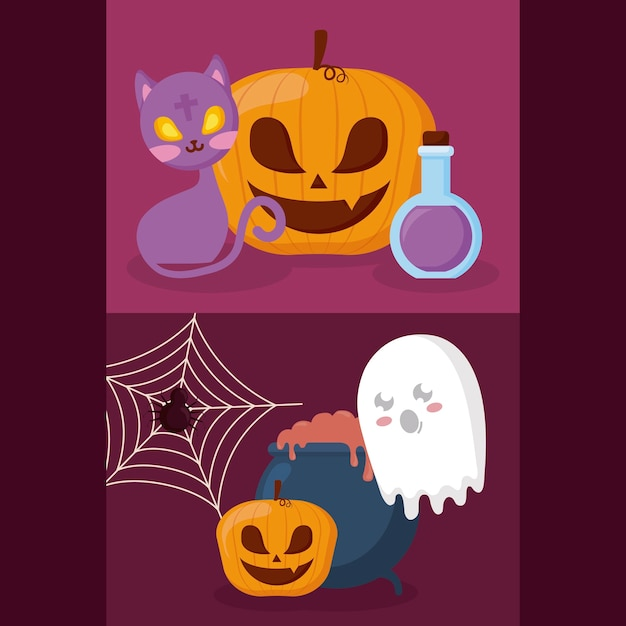 Calabaza con concepto de halloween. vector gratuito