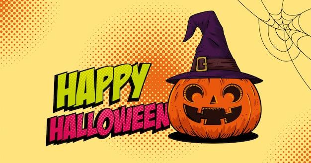 Calabaza de halloween con estilo pop art de bruja sombrero Vector Premium