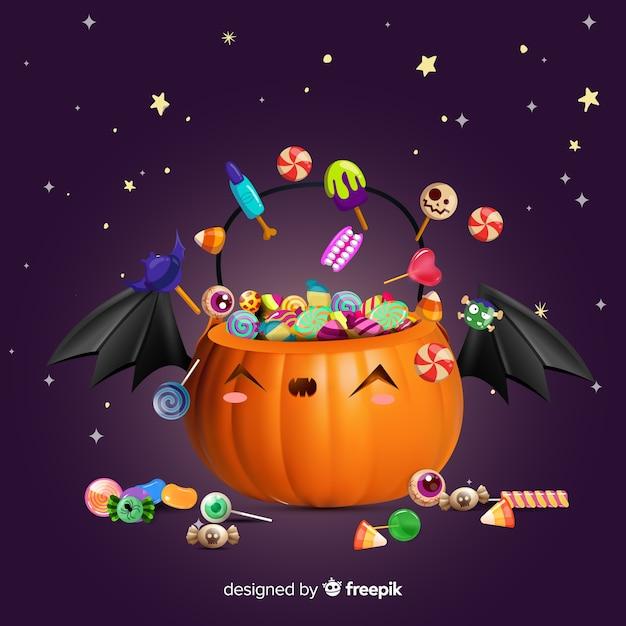 Calabaza de halloween linda realista vector gratuito