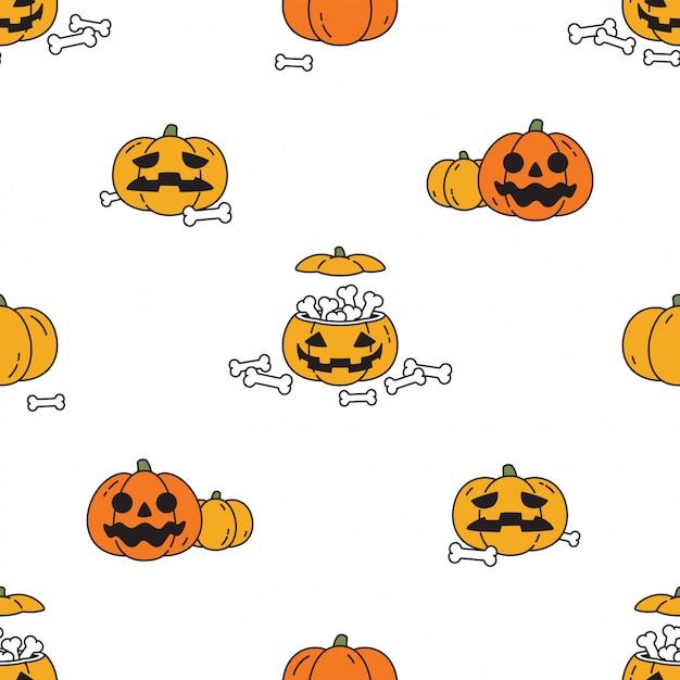 Calabaza de halloween de patrones sin fisuras personaje de dibujos animados Vector Premium