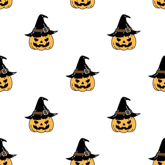 Calabaza halloween de patrones sin fisuras sombrero de bruja dibujos animados Vector Premium