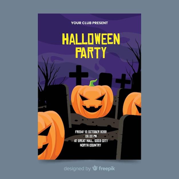 Calabazas en un cementerio plano póster de halloween vector gratuito