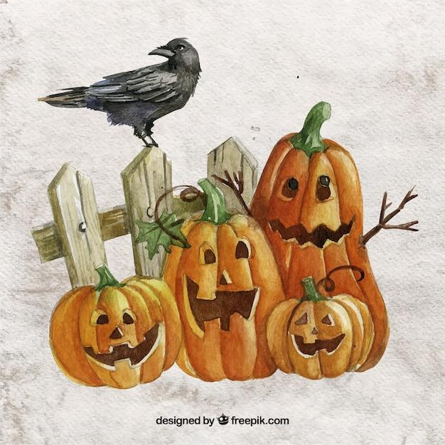 Calabazas de halloween pintadas a mano descargar vectores premium - Calabazas de halloween pintadas ...