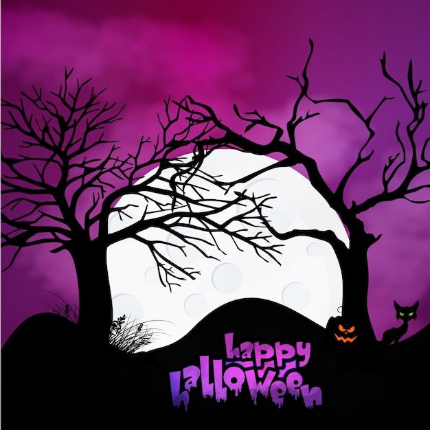 Calabazas de Halloween y castillo oscuro en azul Fondo de la luna, ilustración. Vector Gratis