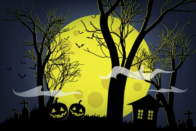 Calabazas de halloween y casa oscura en la luna amarilla. Vector Premium