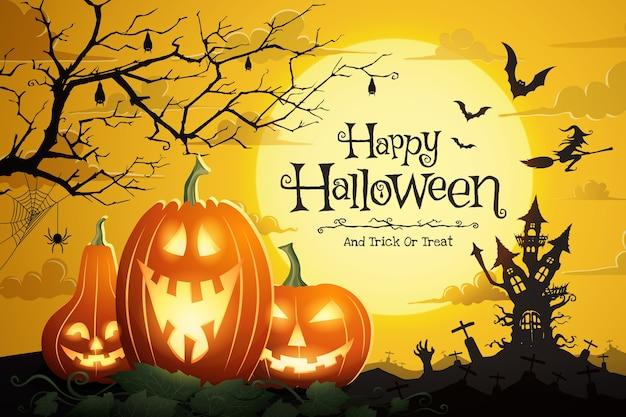 Calabazas de halloween y castillo espeluznante en la noche de luna llena y murciélagos volando. Vector Premium