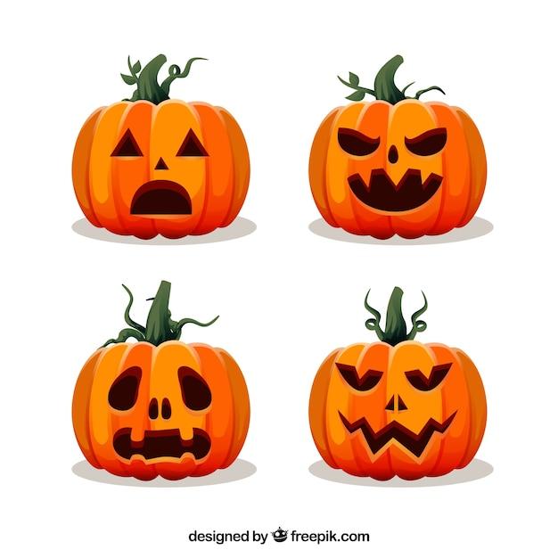 Calabazas de halloween con diseño plano | Descargar Vectores gratis