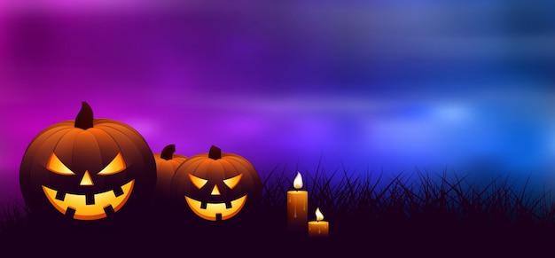 Calabazas de halloween con velas Vector Premium