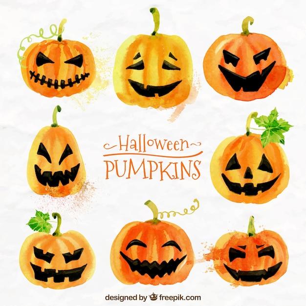 Calabazas para halloween pintadas con acuarelas descargar vectores gratis - Calabazas de halloween pintadas ...