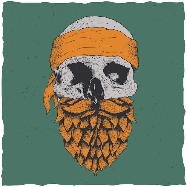 Calavera con barba y pañuelo ilustración vector gratuito
