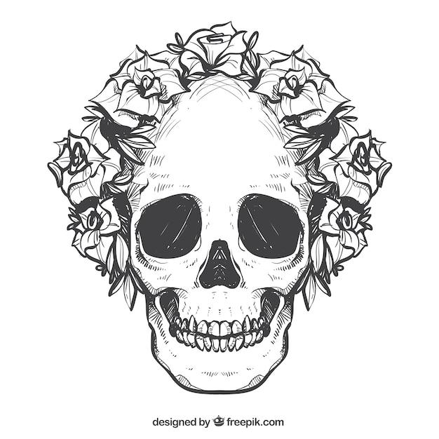Calavera Con Corona De Flores Dibujadas A Mano Descargar Vectores