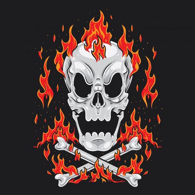 Calavera De Dibujos Animados Cross Bones Fire Descargar Vectores