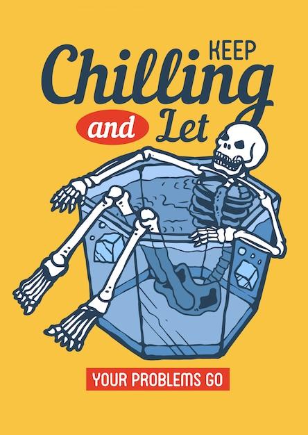 Calavera enfriándose en el cubo de hielo disfrutando de los días de verano en la ilustración retro de los 80 Vector Premium
